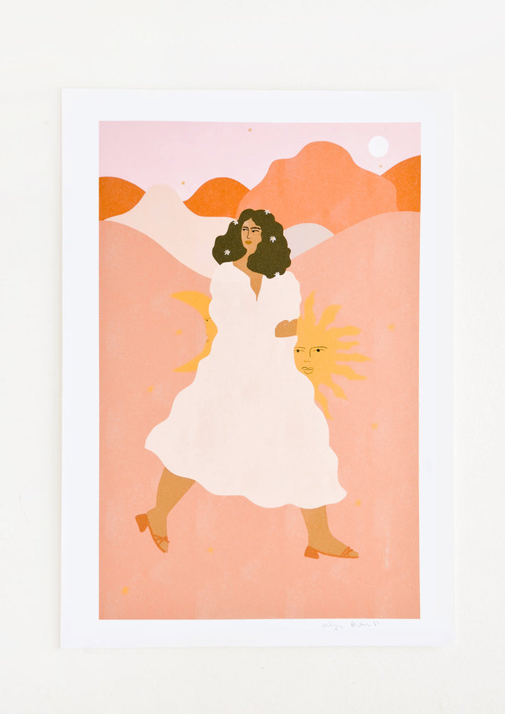 1: Whimsical art print of a woman wearing a flowing white dress, walking through a desert landscape