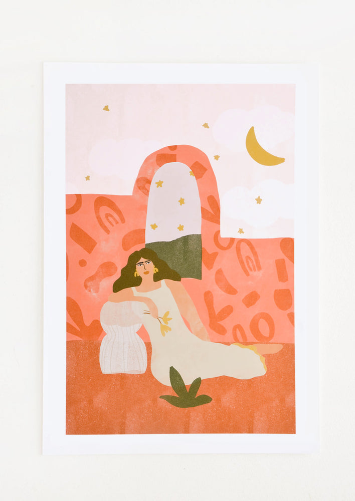 1: Whimsical art print of a woman in a dress lounging in an outdoor setting