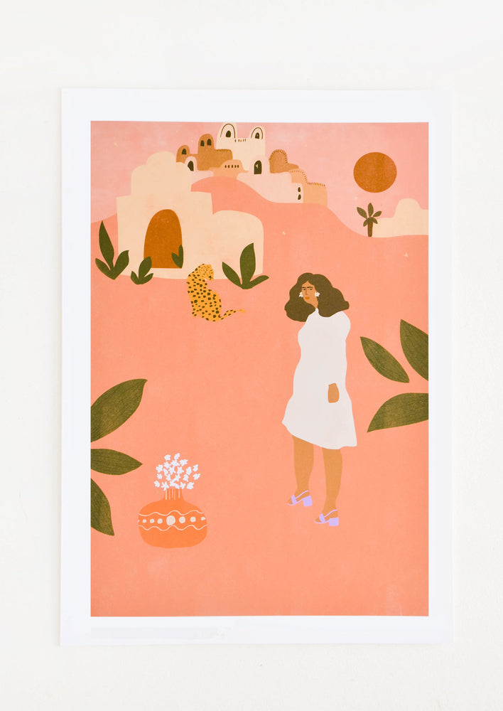 Whimsical art print of a woman wearing a dress in a desert landscape