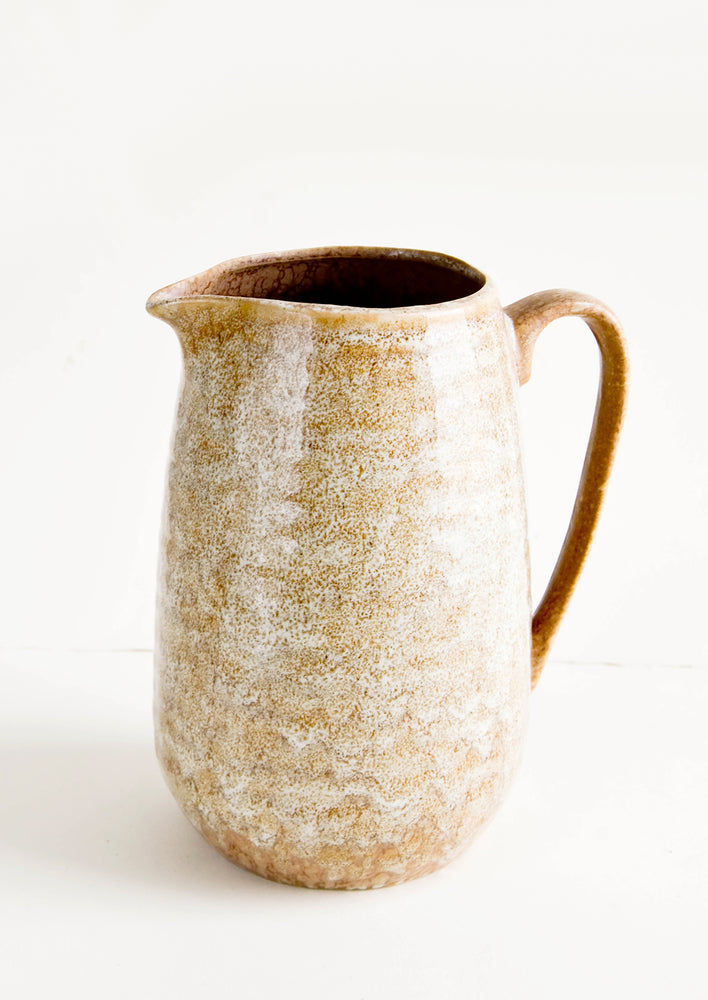 1: Large ceramic pitcher with handle in reactive glossy brown glaze