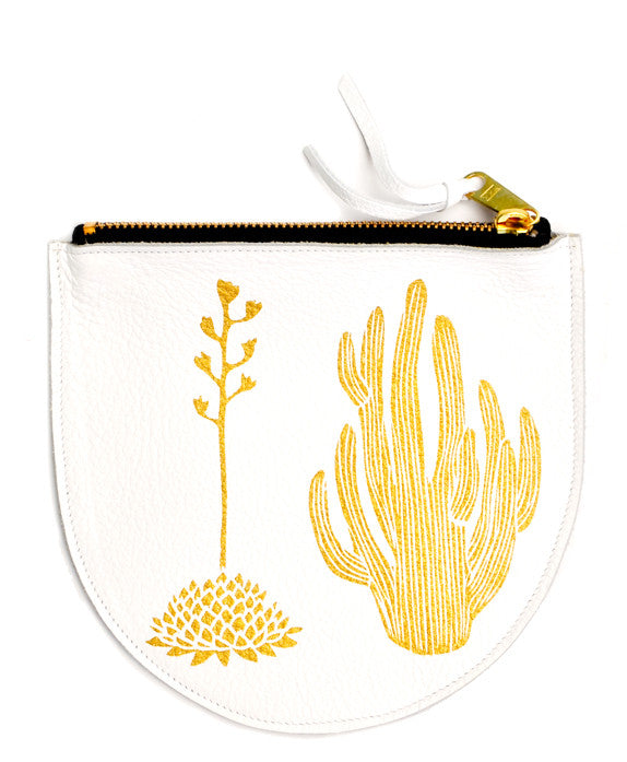 Cactus Print Leather Pouch - LEIF