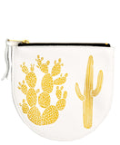 Cactus Print Leather Pouch