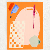 1: A small, original abstract painting with bright orange background.