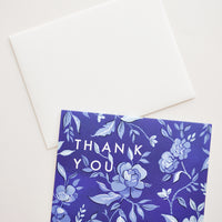 Indigo Floral Thank You Card