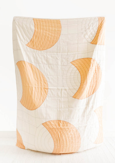 Organic Cotton Kantha Quilt with Moon Shapes in Natural/Peach - LEIF