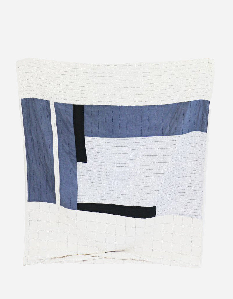 Cream / Blue / Black: Osaka Stitch Quilt in Cream / Blue / Black - LEIF
