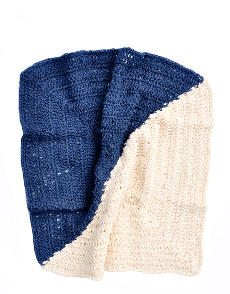 Indigo / Natural: Angle Crochet Dish Towel Set in Indigo / Natural - LEIF