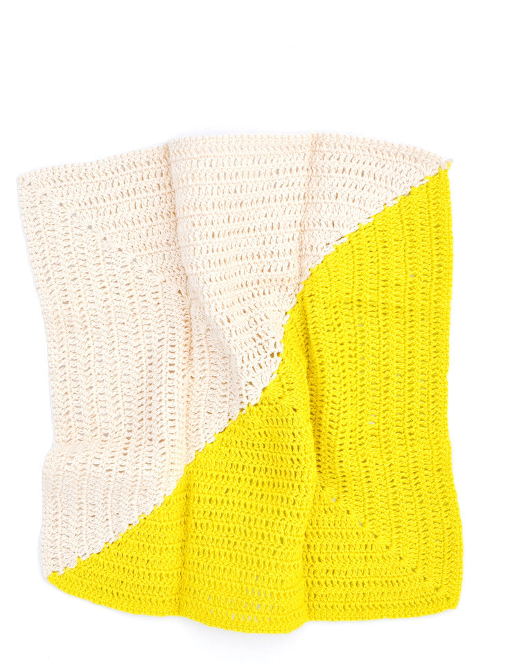 Citrine / Natural: Angle Crochet Dish Towel Set in Citrine / Natural - LEIF