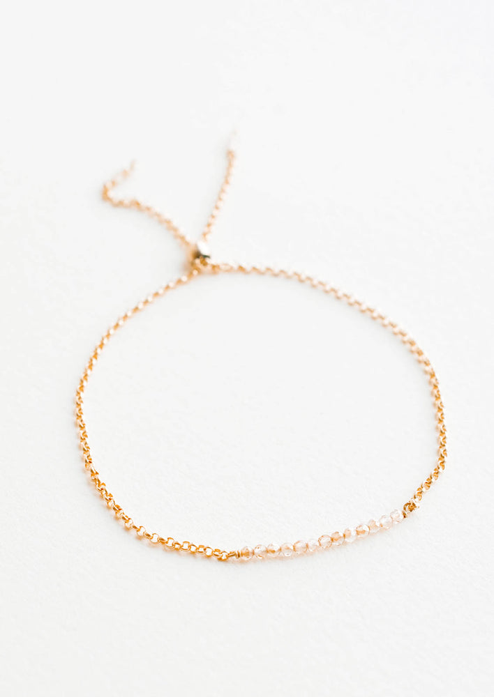 Peach Moonstone: Anrika Sliding Closure Bracelet in Peach Moonstone - LEIF
