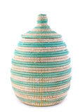 Striped Lidded Storage Basket