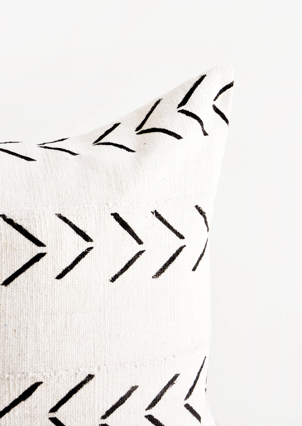 2: Detail of Mudcloth Throw Pillow in Natural with Black Arrow Print  - LEIF