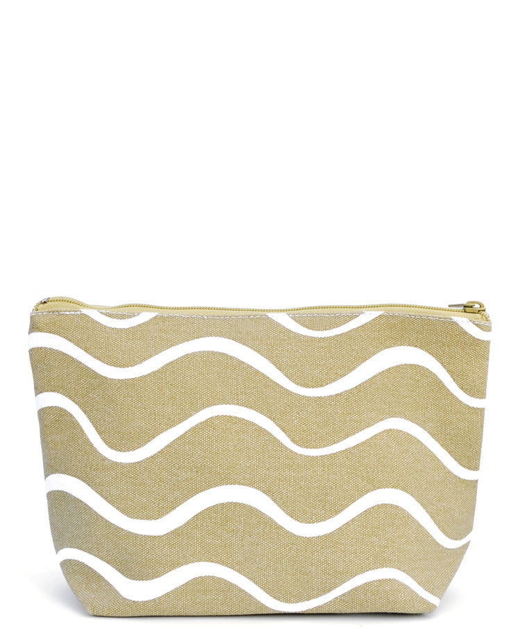 Waves / Medium: Art Canvas Zip Pouch in Waves / Medium - LEIF