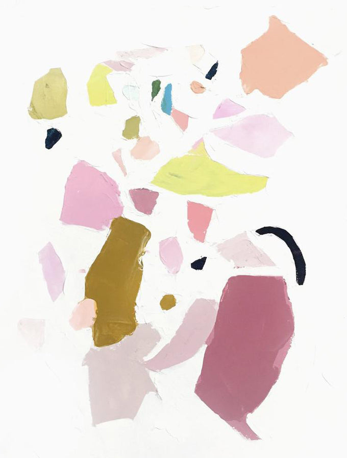 1: An abstract print of differently sized solid patches of paint colors in pinks, greens, and purples.