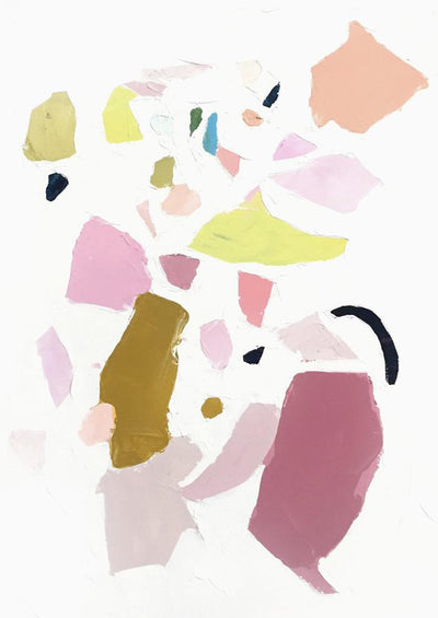 An abstract print of differently sized solid patches of paint colors in pinks, greens, and purples.