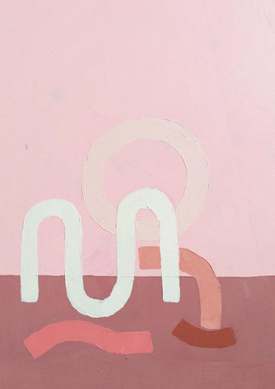 Various shades of pink are used to create squiggles and circles on a two-toned pink background.