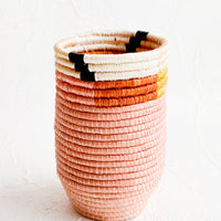 1: Pencil cup shaped woven sweetgrass basket in pink color combo with geometric trim