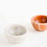 3: Small round bowls made from solid marble, in option of peach or tan