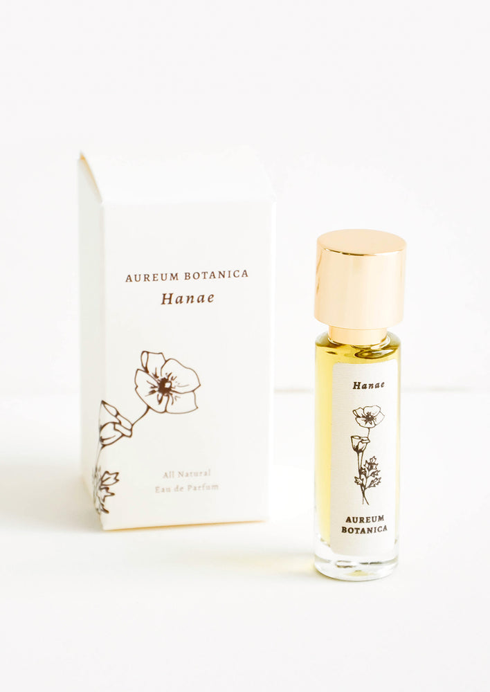 "Hanae: All natural perfume in glass bottle with botanical label in ""Hanae"" scent"