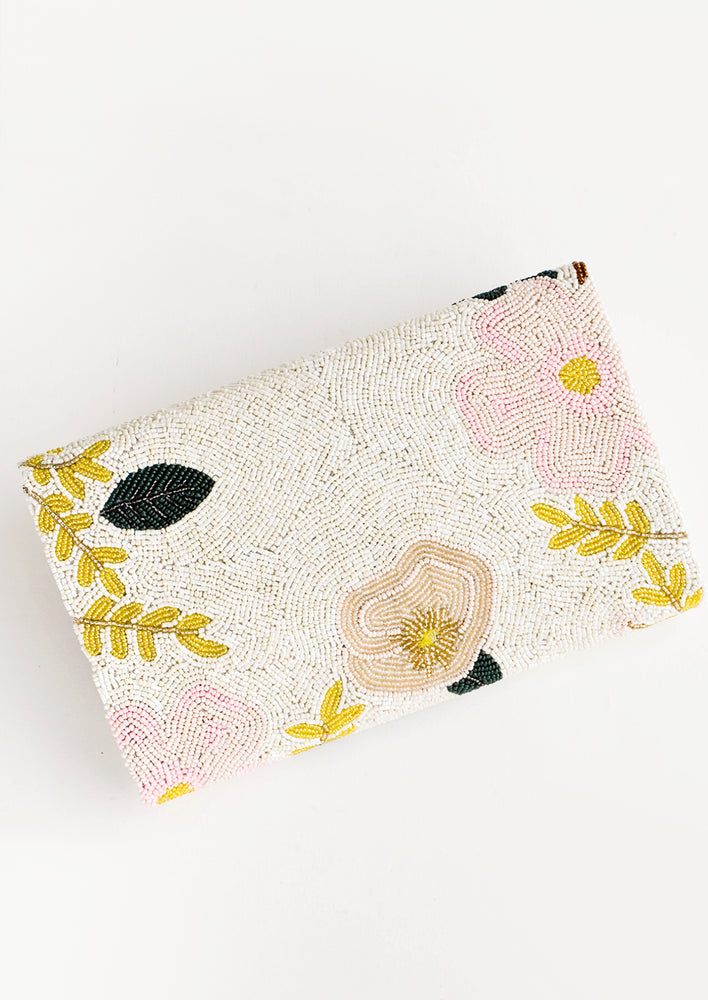 2: Beaded clutch with pastel floral pattern