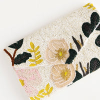 1: Envelope-style clutch with allover glass beading in pastel floral pattern