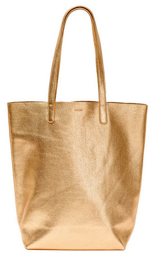BAGGU Basic Leather Tote in Gold - LEIF