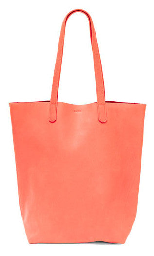BAGGU Basic Leather Tote in Persimmon - LEIF