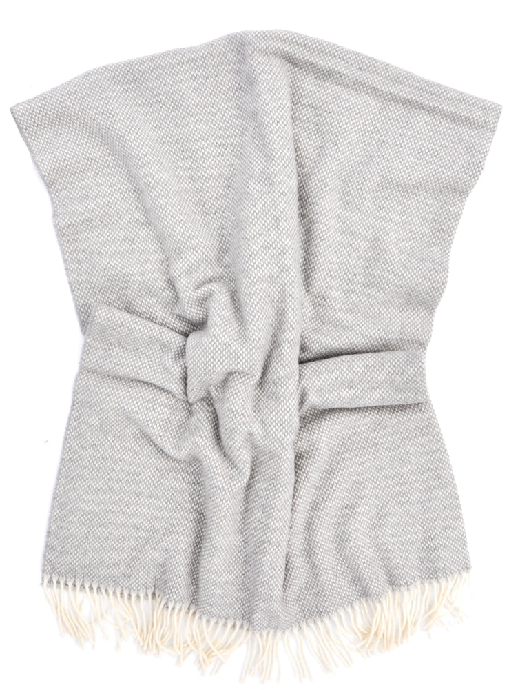 Heather Grey: Basketweave Wool-Cashmere Throw in Heather Grey - LEIF