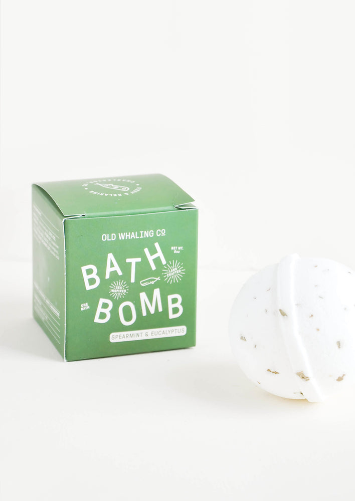 Spearmint & Eucalyptus: White colored, round bath bomb with green box packaging