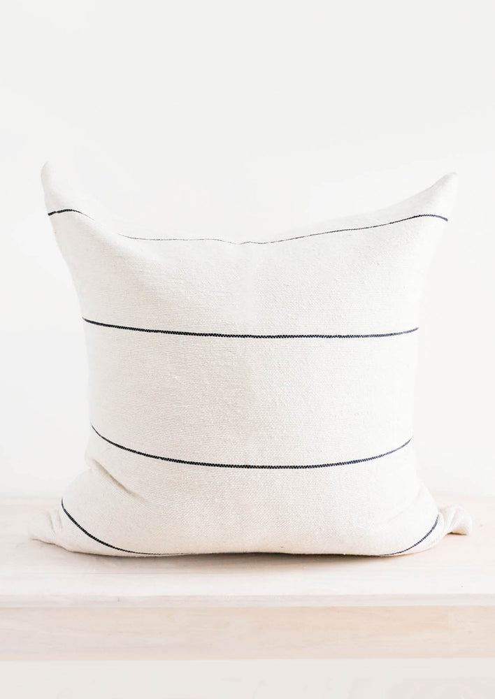 1: Soft Cotton Throw Pillow in Natural with Thin Black Lines