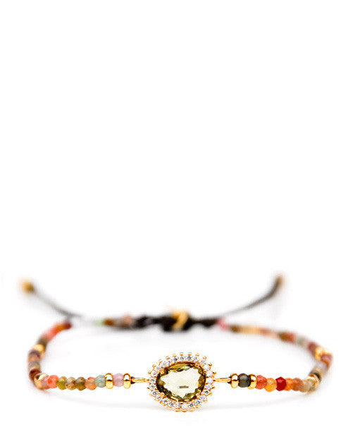 Multi / Olive: Beaded Gem Bracelet in Multi / Olive - LEIF