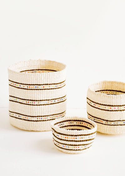 Beaded Stripe Catchall Basket