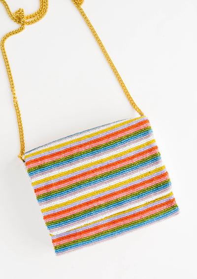 Striped Beaded Box Clutch hover