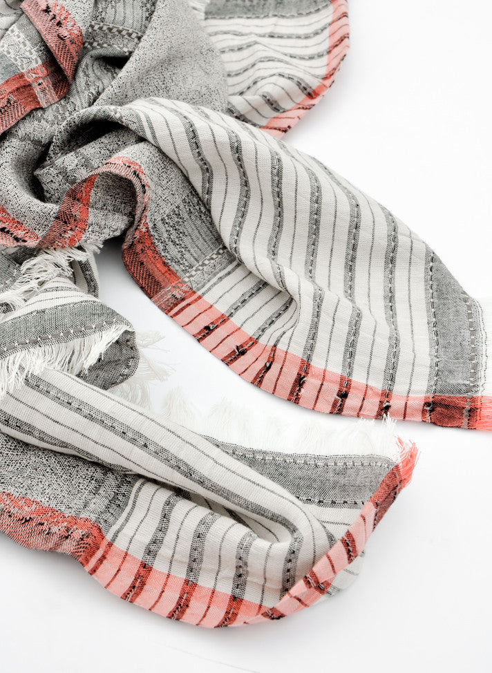 Weave Stripe Cotton Scarf