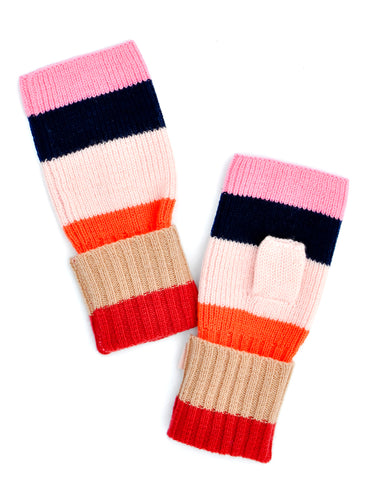 Colorblock Knit Wool Fingerless Gloves