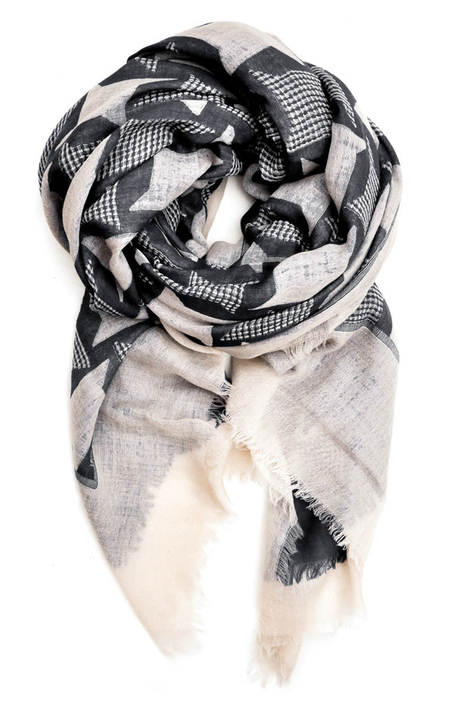 Giant Houndstooth Wool Scarf - LEIF