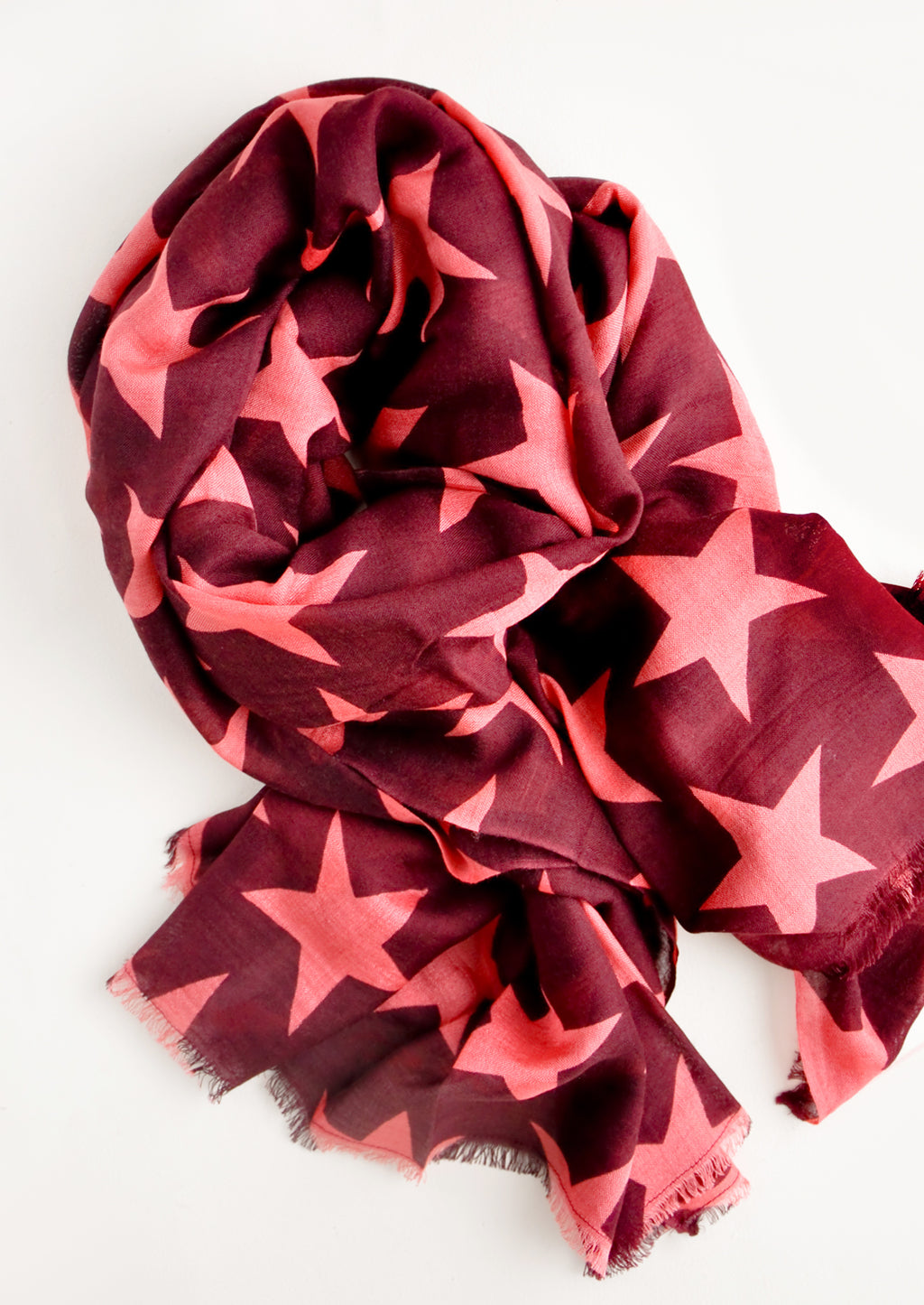 Wine / Coral: Starry Supernova Wool-Silk Scarf in Wine / Coral - LEIF