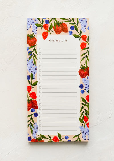 A list notepad with berry print border.