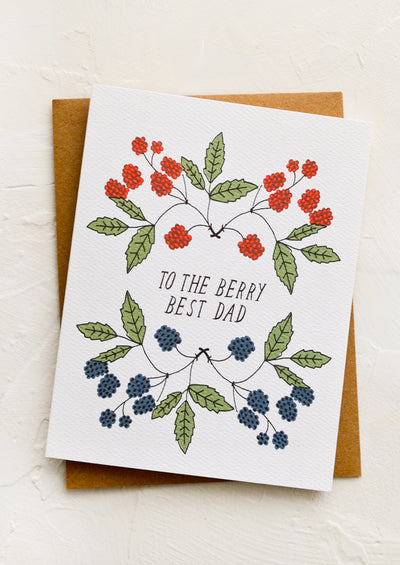 "A greeting card with illustrated raspberries and text reading ""To the berry best dad"""