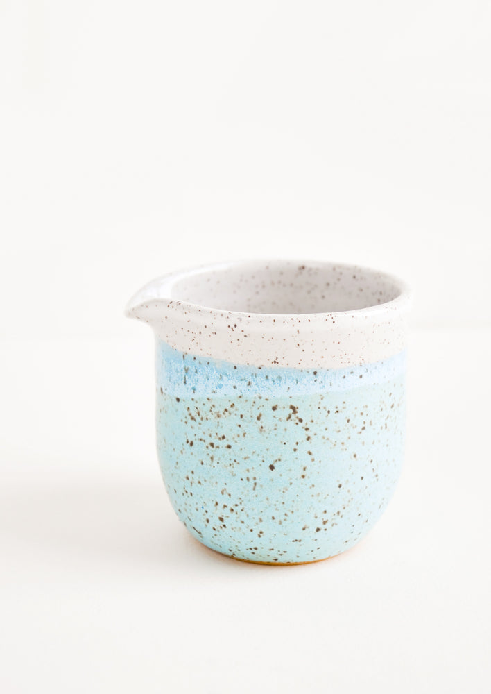 1: Speckled Mini Ceramic Creamer in Aqua Blue - LEIF