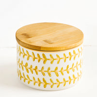 Small: Short ceramic storage jar with retro leaf print and bamboo lid