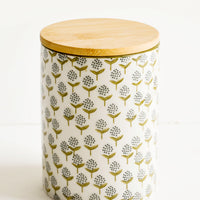 Large: Tall ceramic storage jar with retro leaf print and bamboo lid
