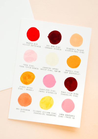 Greeting card with color palette swatches in birthday cake colors