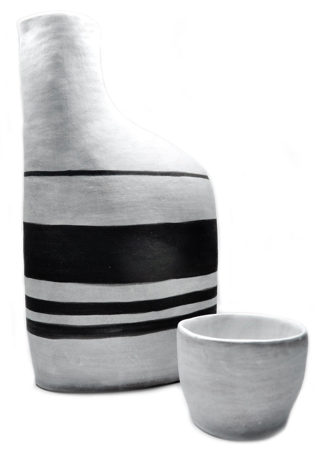 Black & White Stripe Decanter Set - LEIF