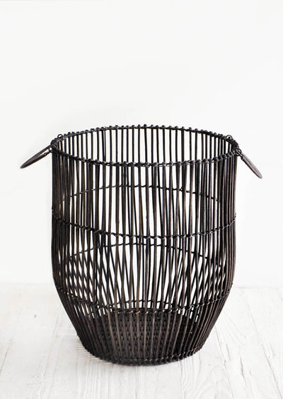 Blackened Reed Rattan Basket