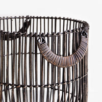 2: Detail of rattan wrapped handle on sides of rattan storage bin