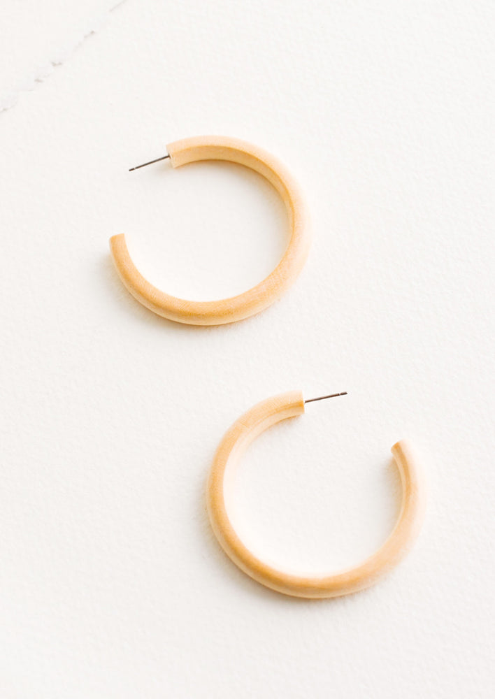 Bleached Maple Hoop Earrings in  - LEIF