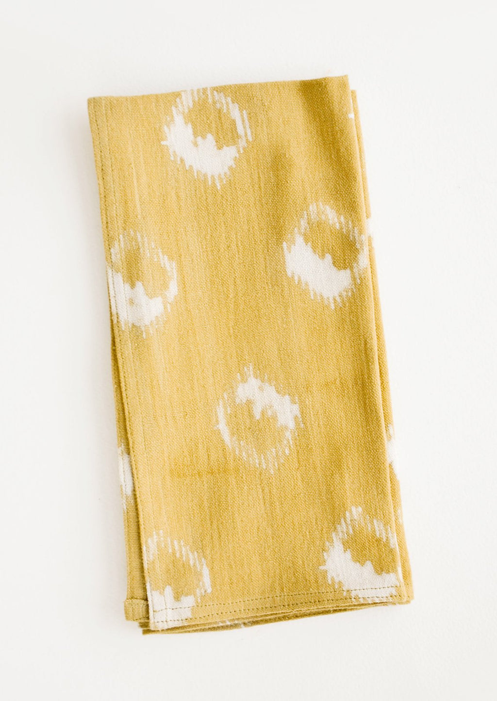 Mustard: Block print cotton dinner napkin in mustard yellow with ikat print