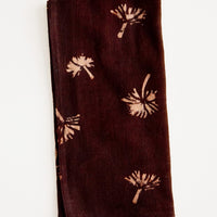 Wine: Block print cotton dinner napkin in wine with peach dandelion print