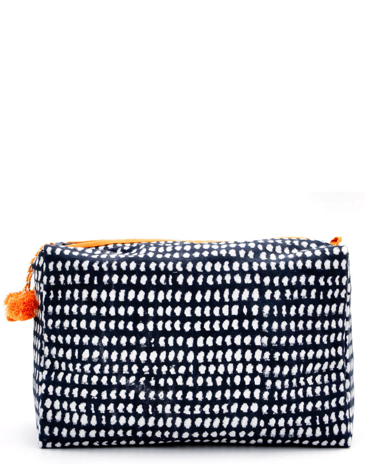 Messy Dots: Block Print Toiletry Bag in Messy Dots - LEIF