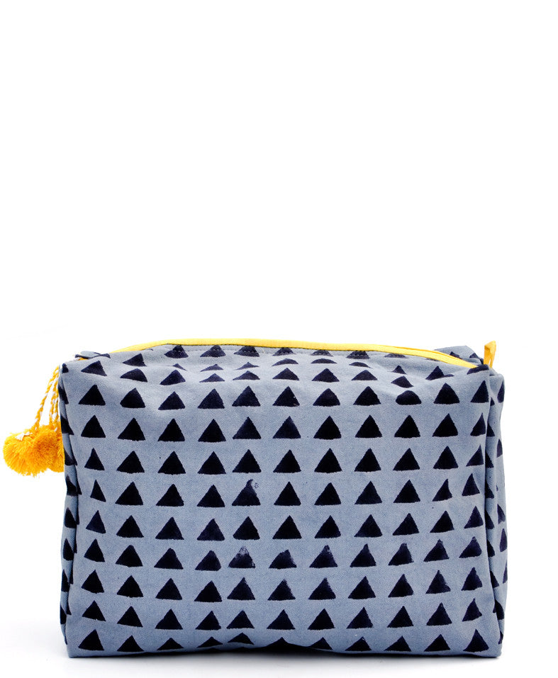 Triangles: Block Print Toiletry Bag in Triangles - LEIF